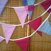 Picture of Fabric Bunting - Blue Lilac Pink