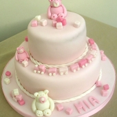 Picture of Pink Teddy Christening Cake