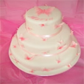 Picture of Pink Butterfly Tiered Cake