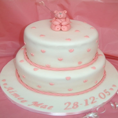 Picture of Pink Ted on White Christening Cake