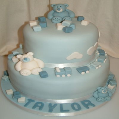 Picture of Blue Teddies Christening Cake