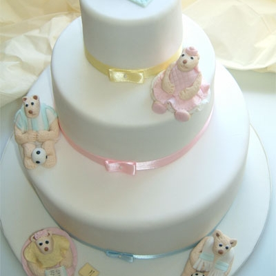 Picture of Teddy Family Christening Cake
