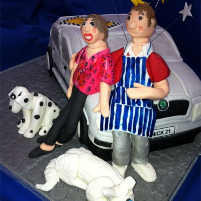 Picture of 21st Lad with his Girl, Car and Dogs Cake